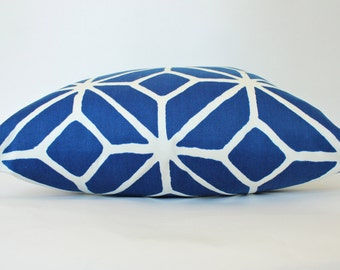 Two-sided Outdoor Pillow Cover in Blue and White Trellis Design