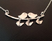 STERLING SILVER CHAIN,Bird and branch necklace,silver bird necklace,love bird necklace,tree bird necklace,family bird necklace,mom  gift