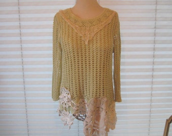 Crochet tunic sweater, doily sweater, pale lime green sweater, altered couture, upcycled sweater, boho chic, tattered lace sweater
