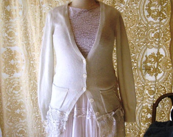 Shabby off white cardigan sweater, bohemian sweater, doily tunic sweater, country chic clothes, long romantic cardigan, large