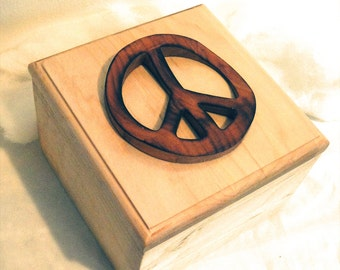 60s 70s Peace Wood Art Carving Keepsake Wood Box
