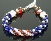 ALL AMERICAN KUMIHIMO Bracelet Red White Blue with Silver Highlights