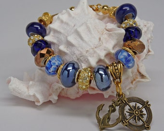 NAUTICAL BLUE and GOLD Euro Large Hole Bead Bracelet Anchor Compass Rhinestones Lampwork Accessory Gift