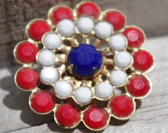 Vintage 1960s Pin / Brooch Red White Blue Rhinestone Flower