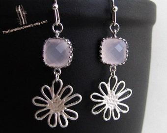SALE 10% OFF: Glass Earrings Pink - Dangle Earrings Drop Earrings Flower Earrings Gift Jewelry
