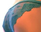 Panties - Lingerie Slip Little Mermaid // Undies  Slip in Sheer turquoise French Lace handmade of Fransik