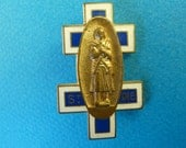 St Joan of Arc   French Brooch Medal Enameled Cross of Lorraine  Old Pendant Charm Jewelry M04/1