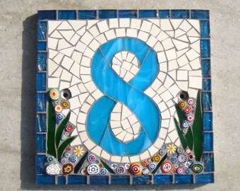 """Mosaic House Number, House Sign, Plaque, Street Address, Yard Art, Bespoke Number,Digit, Outdoor, Wall hanging,ornament, Glass, 7"""" Custom"""