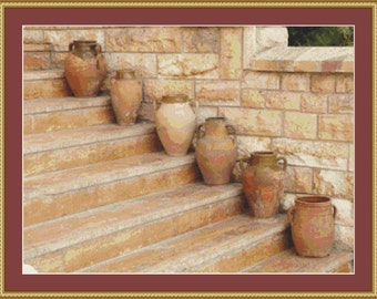 Amphora Vases Cross Stitch Pattern