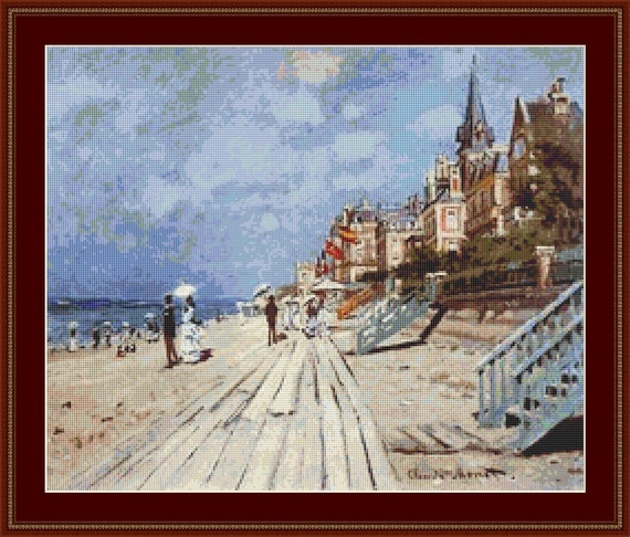 La Plage De Trouville Cross Stitch Pattern /Digital PDF Files /Instant downloadable