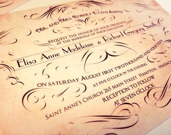 Victorian wedding invitation, wedding invitation elegant calligraphy