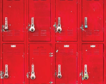 Red Lockers - Vinyl Photography  Backdrop Photo Prop