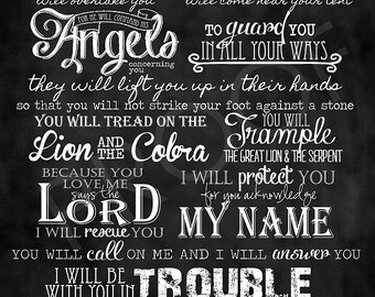 Scripture Chalkboard Art - Psalm 91:9-16