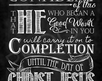 Scripture Art - Philippians 1:6 Chalkboard Style