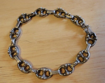 ETRUSCAN style  *HALLMARKED* link Bracelet 800 Silver FLORENCE Italy