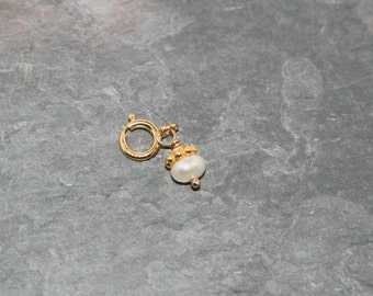 Tiny freshwater pearl charm on gold-fill - add a charm