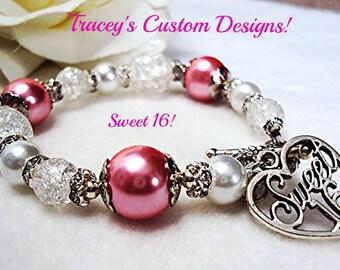 Stunning SWEET 16 KEEPSAKE Bracelet - Perfect Keepsake for a girl's Sweet 16.