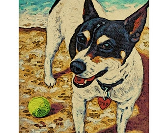 Black and White Rat Terrier Dog on Beach Seashore 8x10 and 11 x 14 Glicee Print from original painting - Double Dog Dare You - Korpita ebsq