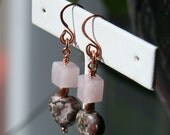 Leopard Skin Jasper, Rose Quartz Heart Earrings,