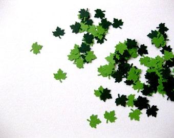 Mini Leaf Confetti - 100 Count Leaf Die Cuts Light Green Dark Green Leaves Autumn Fall Leaves