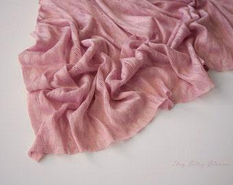 Newborn Lace Knit Wrap, Newborn Photo Prop, Newborn Layering Fabric, Newborn Stretch Knit Wrap - Pink
