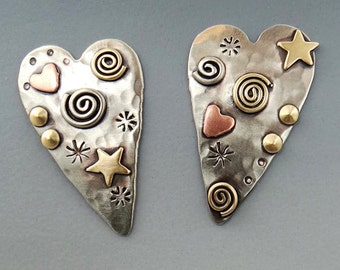 Hearts, Heart Earrings, Silver Heart Earrings, Mixed Metal Earrings  RP0606