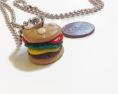 Hamburger Delight Necklace, Burger jewelry, burger necklace, hamburger accessories, Christmas gifts, stocking stuffers, polymer clay charms