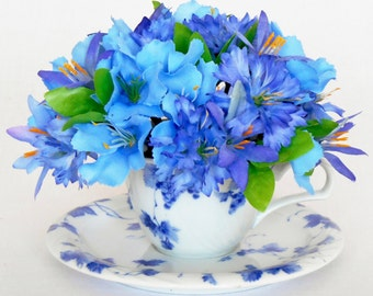 Teacup Silk Floral Arrangement,  Blue Bachelor Buttons & Star Flowers, Blue and White Cup and Saucer, Artificial Flower Arrangement,