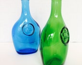 A Pair of Beautiful Vintage Glass Bottles - One Green, One Blue
