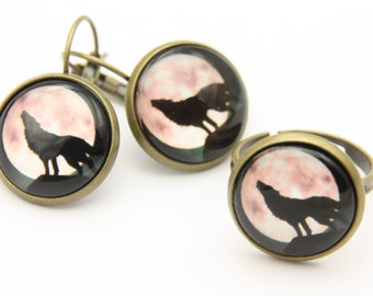 Wolf jewelry set, Wolf earrings, Wolf ring, 1616
