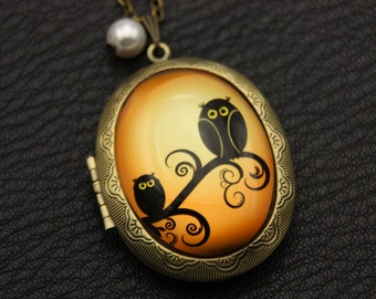 Necklace locket owl 3040M