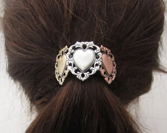 Hearts Ponytail Holder- Hair Accessories- Ponytail Holder- Elastic Hair Ties