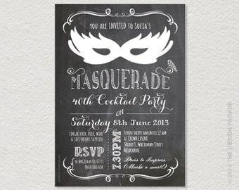 PRINTABLE Chalkboard Masquerade Invitation for 21st, 30th, 40th, 50th etc