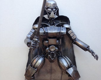 "Hand Made Star Wars DARTH VADER 12"" Inches Recycled Scrap Metal Sculpture"