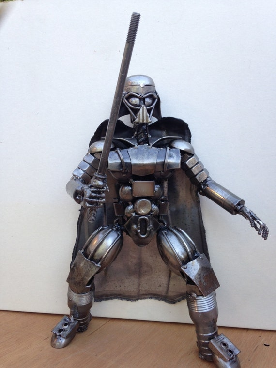 """Hand Made Star Wars DARTH VADER 12"""" Inches Recycled Scrap Metal Sculpture"""