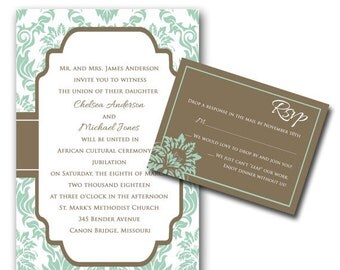 Vintage Chic Damask Wedding Invitations (sample ONLY)