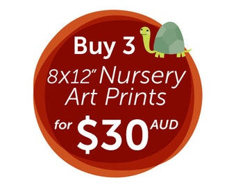 """Discount 3 Pack of 8x12"""" Nursery Art Prints - save almost 30% :-)"""