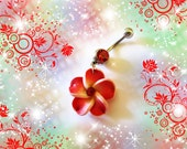 Belly Ring, Mini Lucious Ruby Red Tropical Hawaiian Plumeria Flower, & Red Crystal, Belly button Ring, Belly Button Jewelry, Women or Teens
