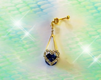 SALE-Belly Ring, Large Gold Dangling Ocean Deep Blue Sapphire Crystal Heart, Fancy Belly Button Ring, Belly Button Jewelry, women or Teens