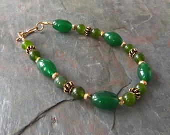 Green Jade Bracelet with 24K Gold Vermeil Beads, Handmade, 7 7/8 Inches