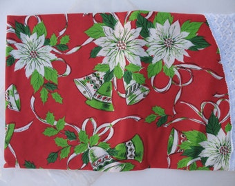 Christmas Tablecloth Round, Holiday Tablecloth,  Poinsettias  Fringe Fabric Never Used Vintage