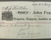 Vintage 1905 Receipt for Renting a Horse and Carriage - Livery, Feed and Stables