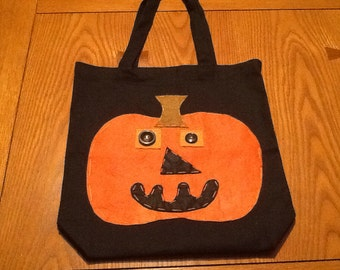Black Tote Bag with Pumpkin Face