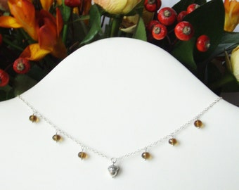 Little acorn necklace with beer quartz 'conkers', sterling silver jewelry OOAK