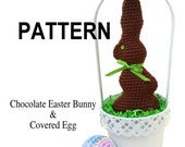 PATTERN: Chocolate Easter Bunny and Covered Plastic Eggs. Two crochet patterns in one.