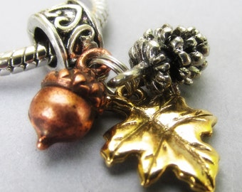 Fall Autumn Treasures European Bead With Silver Pine Cone, Copper Acorn And Gold Leaf Charms For Charm Bracelet And Necklace Chains