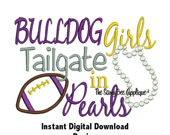 DD BULLDOG Girls Tailgate in Pearls - Football - Machine Embroidery - 2 Sizes