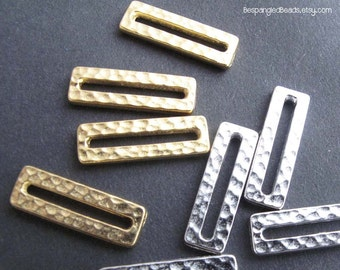 Hammered Silver or Gold Tone Rectangle Links  (Set of 5) - TierraCast Hammertone