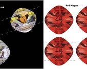 8+ Swarovski 14mm by 14mm Clear AB and/or Red Magma, Article 5180 Double, 2-hole Crystals, New from Box