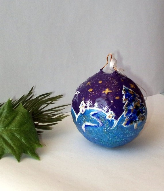 Purple Blue Christmas Tree Ball Ornament Holiday By Labostyle